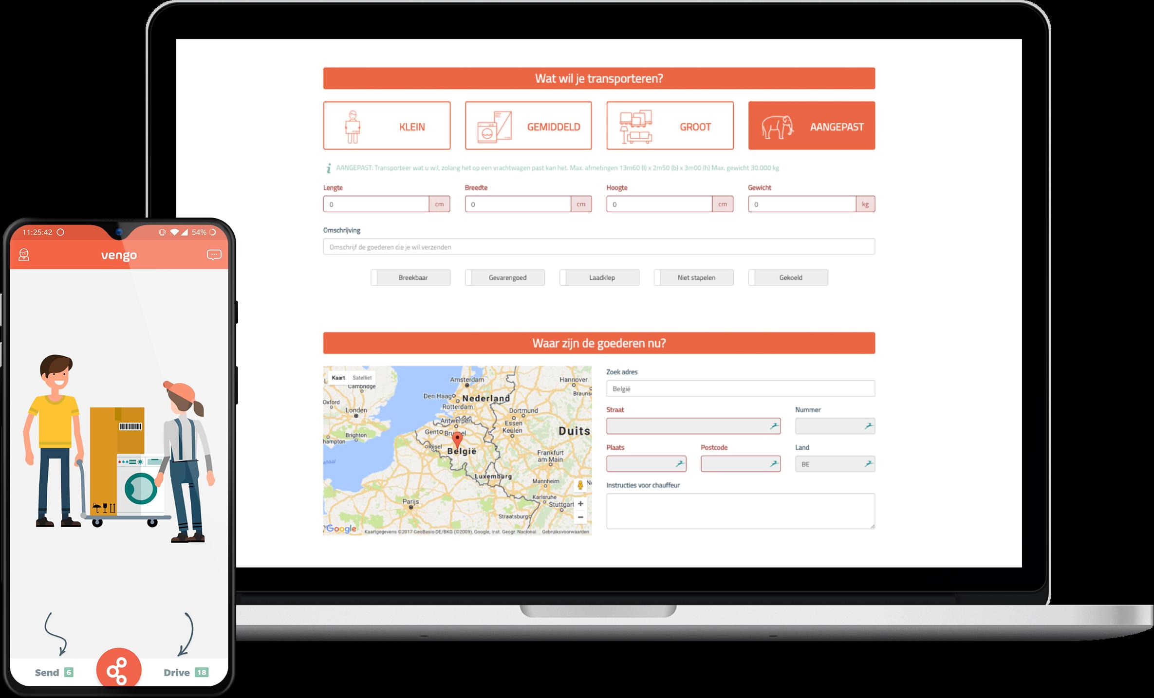 Een preview van de Vengo web- en mobiele applicatie.
